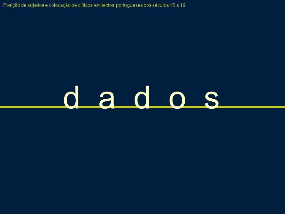 c o n j e c t u r a: a e s t r u t u r a d a o r a ç ã o Posição de sujeitos e colocação de clíticos em textos portugueses dos séculos 16 a 19 G1 [ ZP __ ] [ __ V (S)...] [XP topicalizado] [ or XP fronteado; Verbo; (Sujeito); (Complementos)...] G2 [ ZP __ ] [ XP S V...
