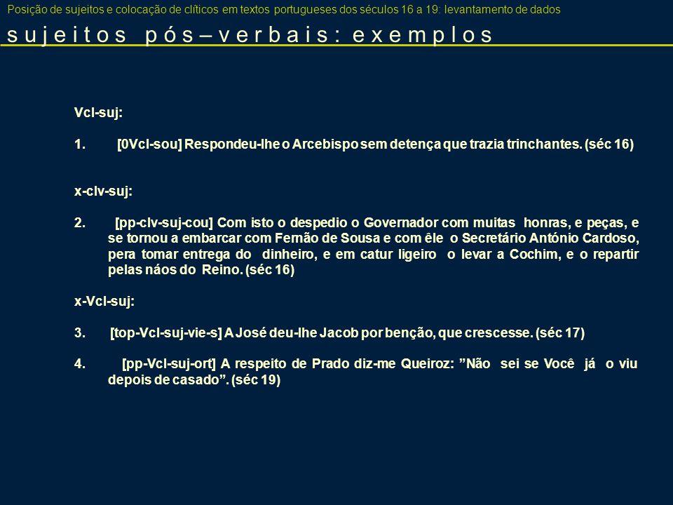 comparando SVcl e nulos Posição de sujeitos e colocação de clíticos em textos portugueses dos séculos 16 a 19: levantamento de dados