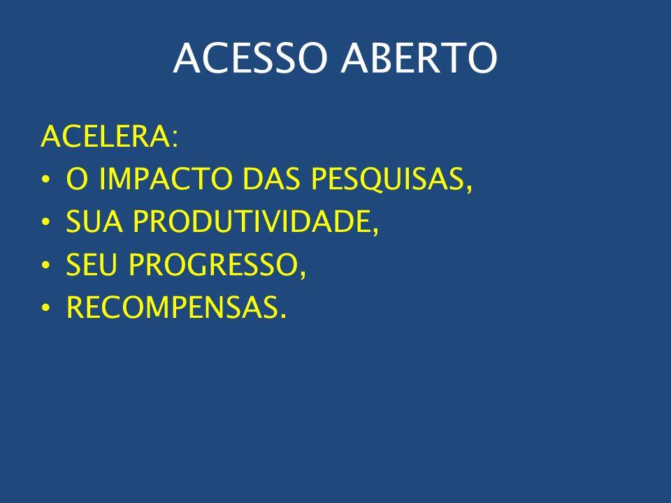 ACESSO ABERTO ACELERA: O IMPACTO DAS PESQUISAS, SUA PRODUTIVIDADE, SEU PROGRESSO, RECOMPENSAS.