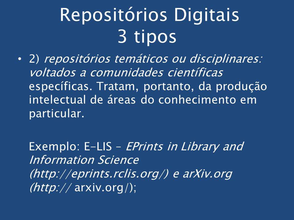 Repositórios Digitais 3 tipos 2) repositórios temáticos ou disciplinares: voltados a comunidades científicas específicas. Tratam, portanto, da produçã