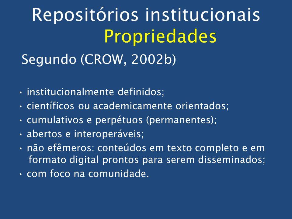 Repositórios institucionais Propriedades Segundo (CROW, 2002b) institucionalmente definidos; científicos ou academicamente orientados; cumulativos e p