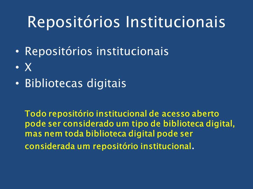 Repositórios Institucionais Repositórios institucionais X Bibliotecas digitais Todo repositório institucional de acesso aberto pode ser considerado um