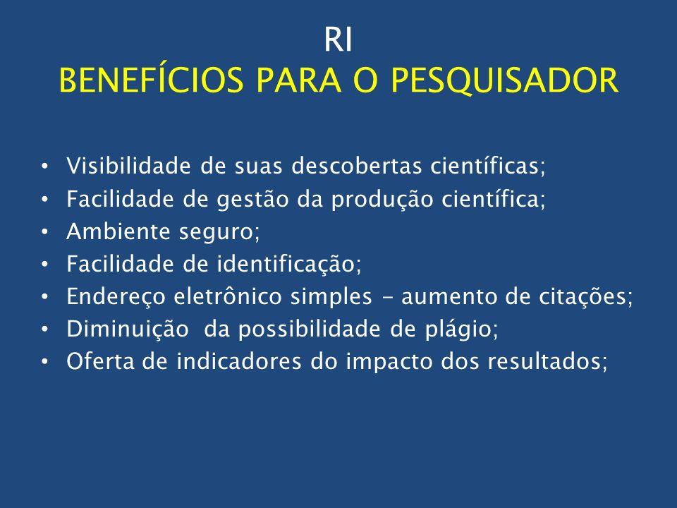 RI BENEFÍCIOS PARA O PESQUISADOR Visibilidade de suas descobertas científicas; Facilidade de gestão da produção científica; Ambiente seguro; Facilidad