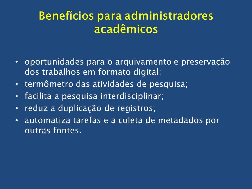 Benefícios para administradores acadêmicos oportunidades para o arquivamento e preservação dos trabalhos em formato digital; termômetro das atividades