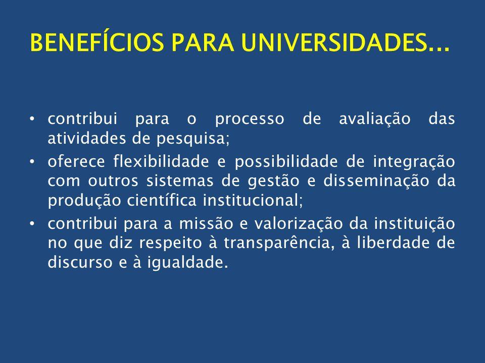 BENEFÍCIOS PARA UNIVERSIDADES... contribui para o processo de avaliação das atividades de pesquisa; oferece flexibilidade e possibilidade de integraçã