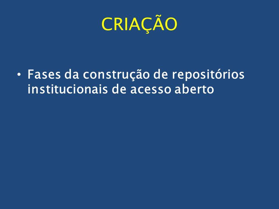 CRIAÇÃO Fases da construção de repositórios institucionais de acesso aberto