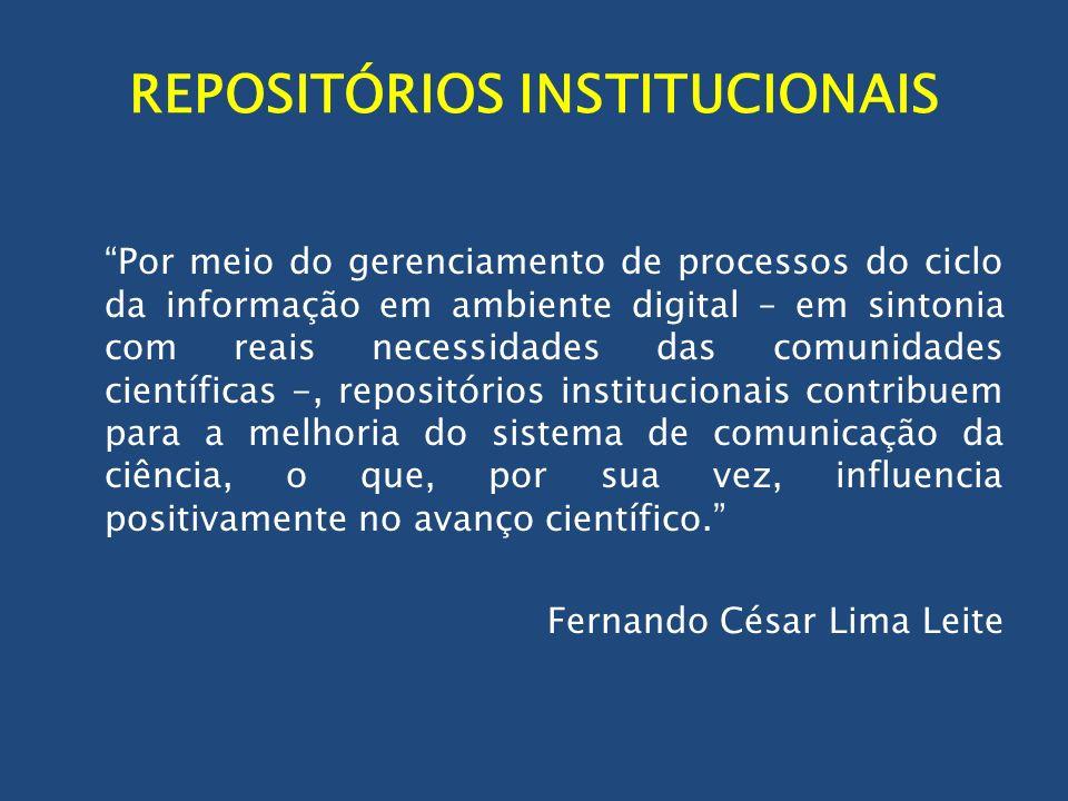 REPOSITÓRIOS INSTITUCIONAIS Por meio do gerenciamento de processos do ciclo da informação em ambiente digital – em sintonia com reais necessidades das