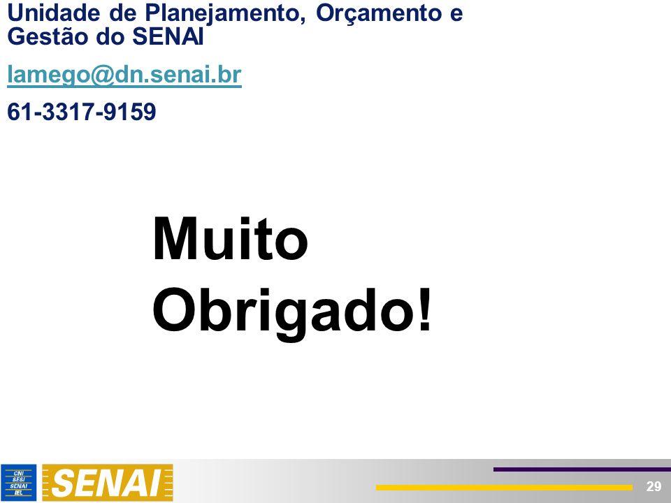 29 Muito Obrigado! Unidade de Planejamento, Orçamento e Gestão do SENAI lamego@dn.senai.br 61-3317-9159