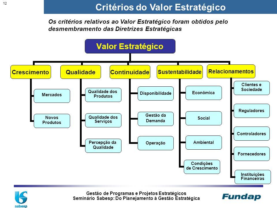 Gestão de Programas e Projetos Estratégicos Seminário Sabesp: Do Planejamento à Gestão Estratégica 12 Critérios do Valor Estratégico Instituições Fina