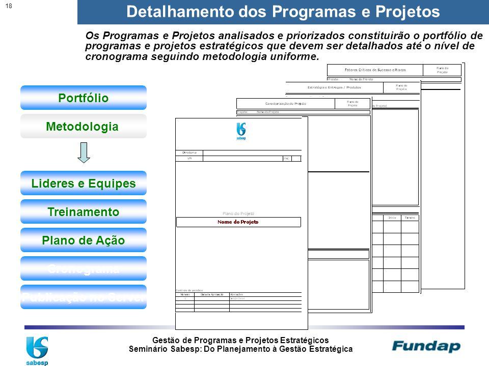 Gestão de Programas e Projetos Estratégicos Seminário Sabesp: Do Planejamento à Gestão Estratégica 18 Detalhamento dos Programas e Projetos Portfólio