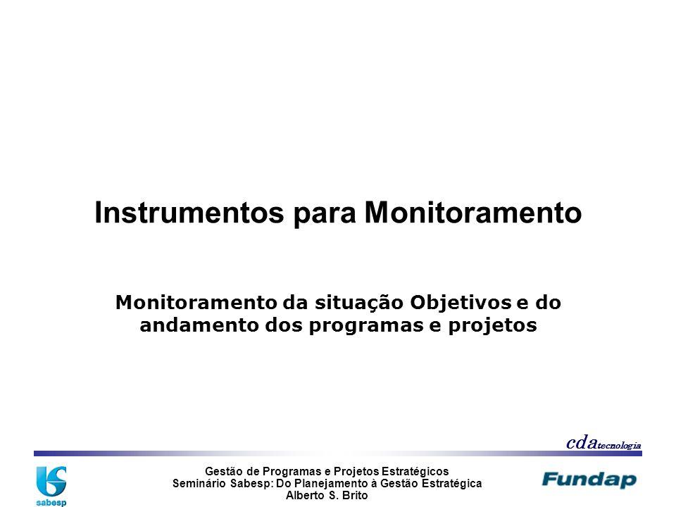 Gestão de Programas e Projetos Estratégicos Seminário Sabesp: Do Planejamento à Gestão Estratégica Alberto S. Brito cda tecnologia Instrumentos para M