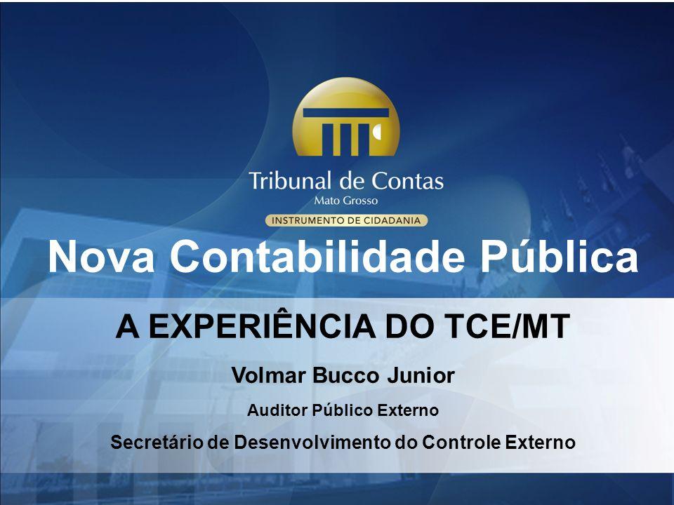 Nova Contabilidade Pública A EXPERIÊNCIA DO TCE/MT Volmar Bucco Junior Auditor Público Externo Secretário de Desenvolvimento do Controle Externo