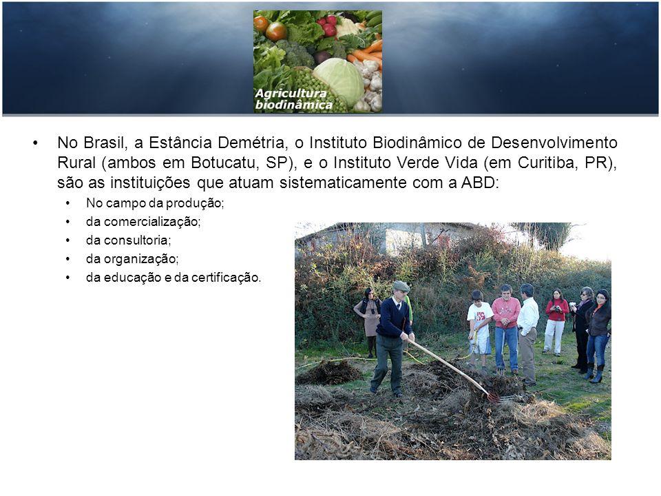 No Brasil, a Estância Demétria, o Instituto Biodinâmico de Desenvolvimento Rural (ambos em Botucatu, SP), e o Instituto Verde Vida (em Curitiba, PR),