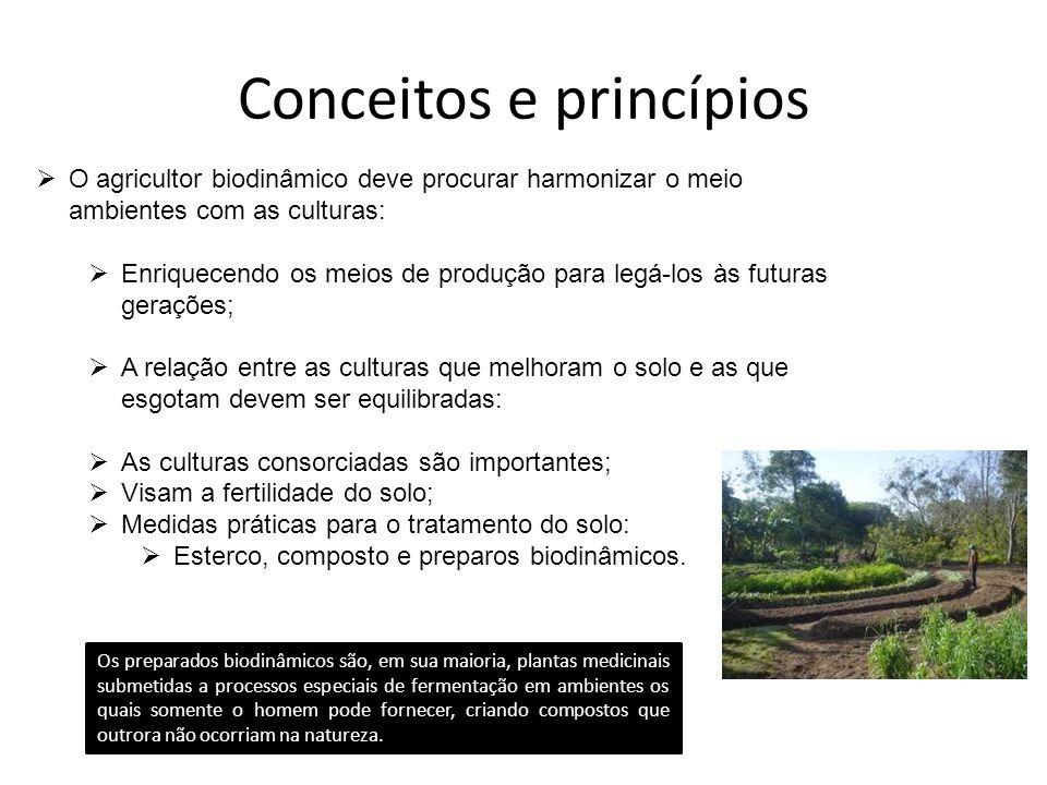 Conceitos e princípios O agricultor biodinâmico deve procurar harmonizar o meio ambientes com as culturas: Enriquecendo os meios de produção para legá
