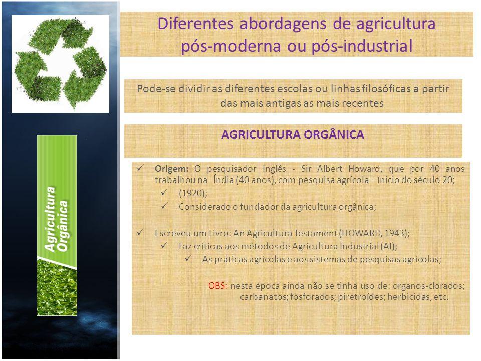 Diferentes abordagens de agricultura pós-moderna ou pós-industrial Pode-se dividir as diferentes escolas ou linhas filosóficas a partir das mais antig