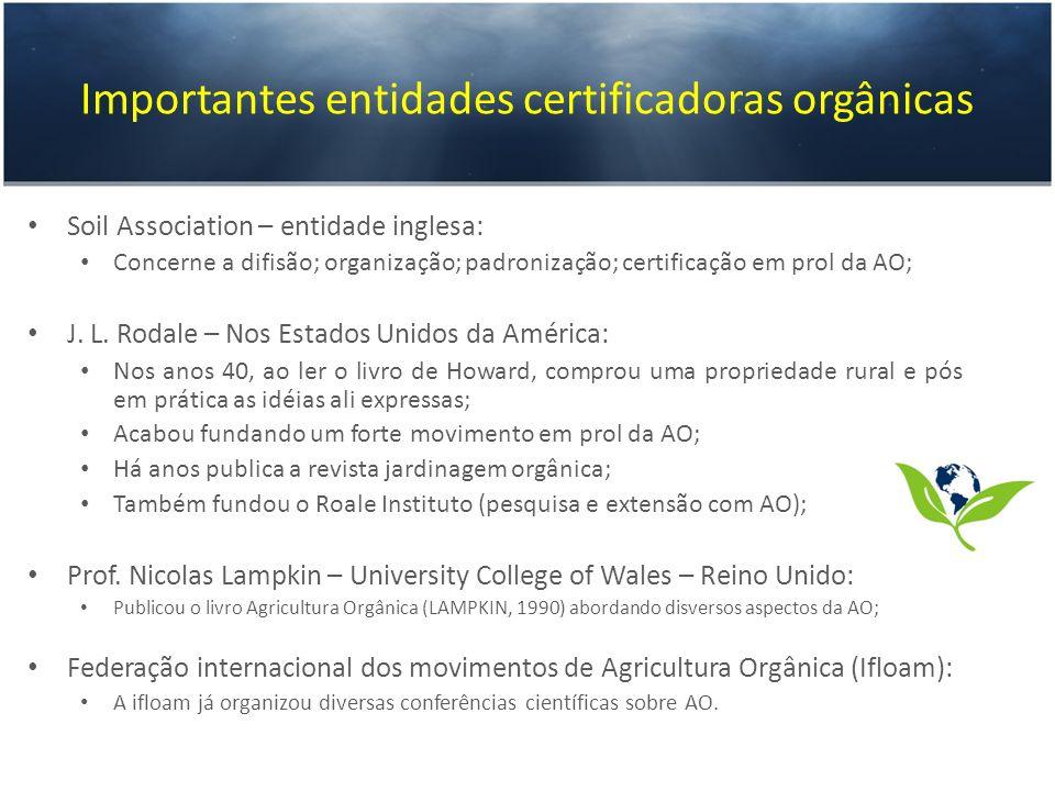 Importantes entidades certificadoras orgânicas Soil Association – entidade inglesa: Concerne a difisão; organização; padronização; certificação em pro