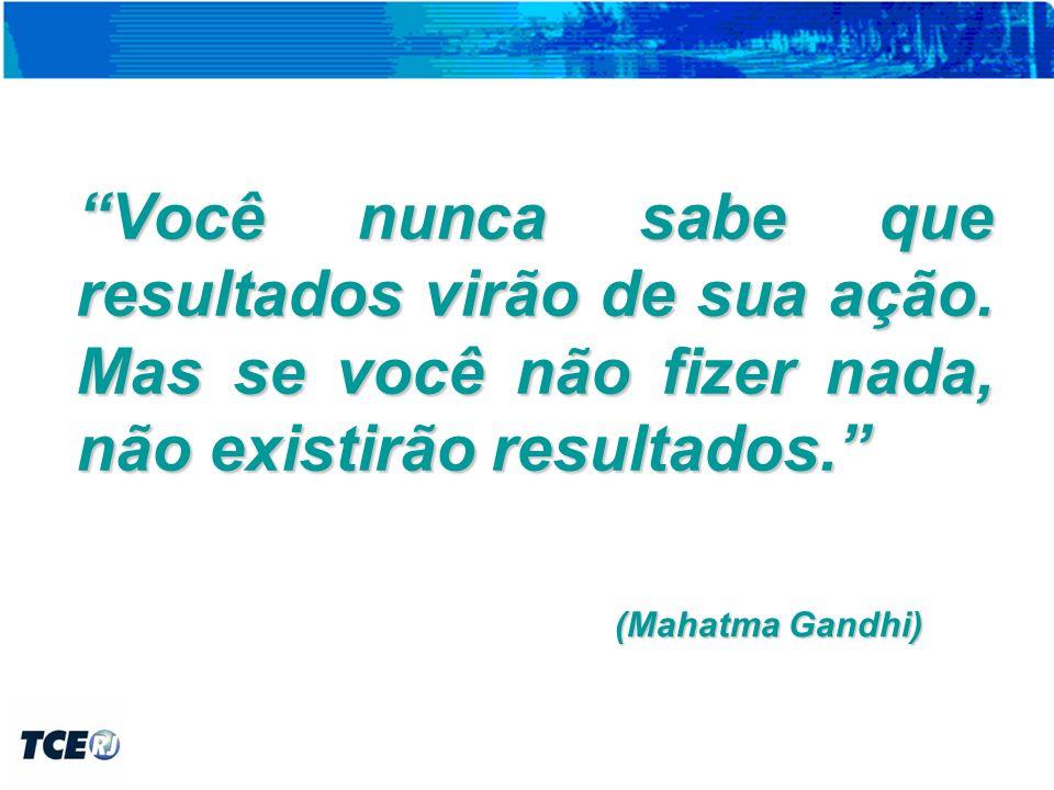 (Mahatma Gandhi) Você nunca sabe que resultados virão de sua ação.
