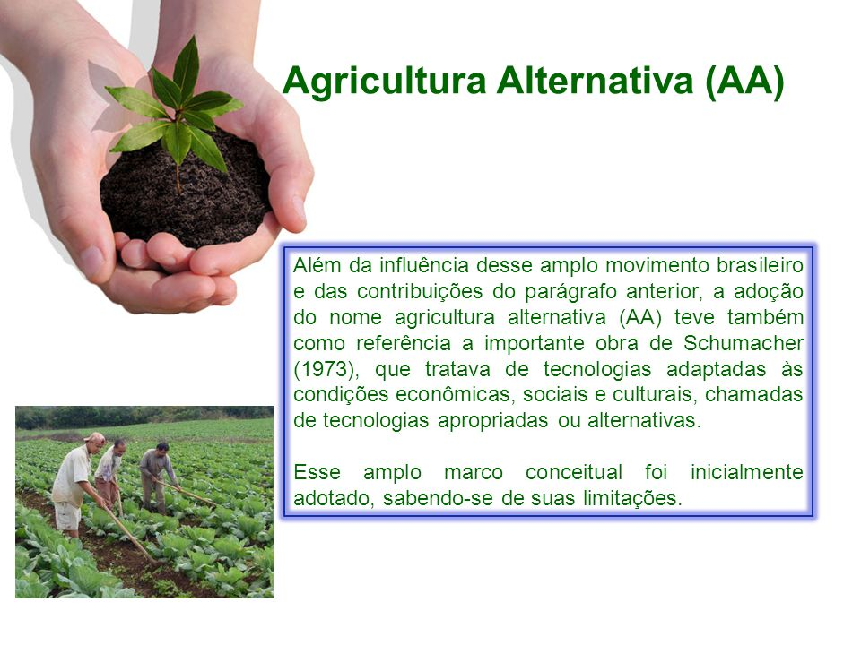 Agricultura Alternativa (AA) Jesus (1987), afirmava que o nome AA era adotado na falta de outra denominação mais específica e precisa, já que não significava um modelo ou conjunto de técnicas, mas um conjunto de movimentos alternativos.
