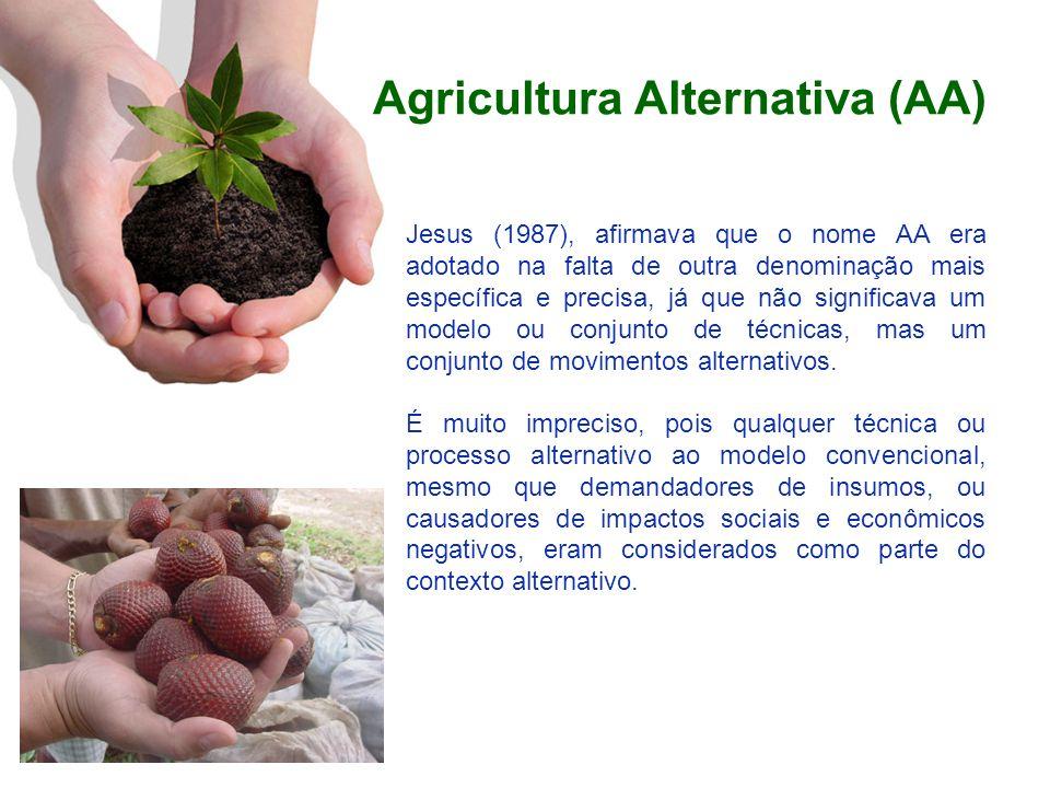 Agricultura Alternativa (AA) Jesus (1987), afirmava que o nome AA era adotado na falta de outra denominação mais específica e precisa, já que não sign