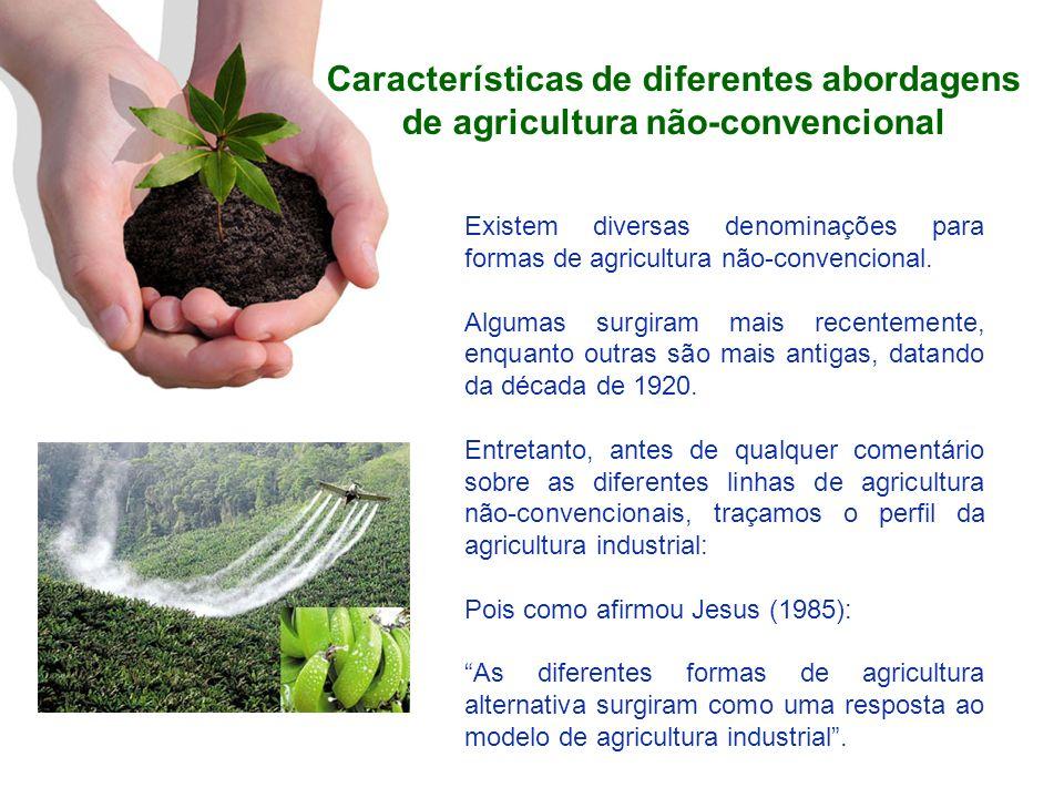Características de diferentes abordagens de agricultura não-convencional Existem diversas denominações para formas de agricultura não-convencional. Al