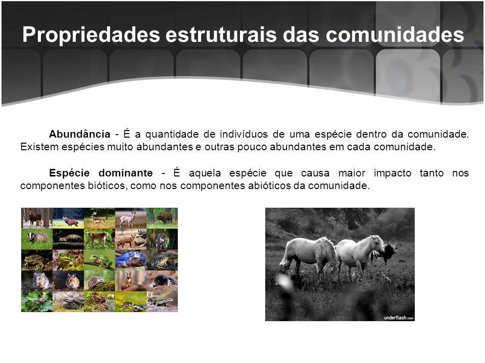 Propriedades estruturais das comunidades A dominância pode ser resultado da relativa abundância do organismo, de seu tamanho, de seu papel ecológico ou de quaisquer desses fatores combinados; Os ecossistemas naturais podem ser denominados de acordo com a espécie dominante, como por exemplo, a Mata de Araucária, no Sul do Brasil.