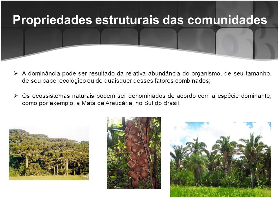 Propriedades Estruturais das Comunidades Estrutura da vegetação - Pode ser vertical e horizontal.