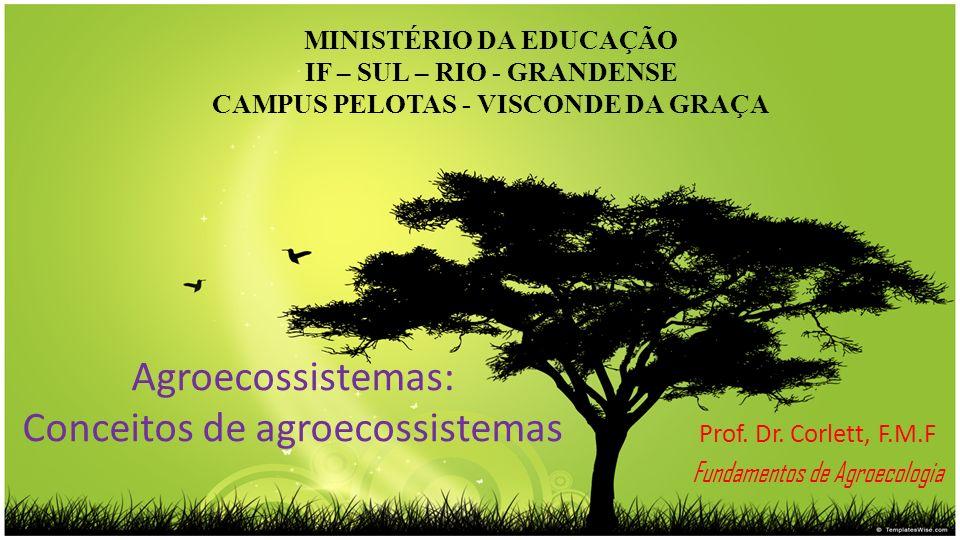 Agroecossistemas: Conceitos de agroecossistemas Prof. Dr. Corlett, F.M.F Fundamentos de Agroecologia MINISTÉRIO DA EDUCAÇÃO IF – SUL – RIO - GRANDENSE
