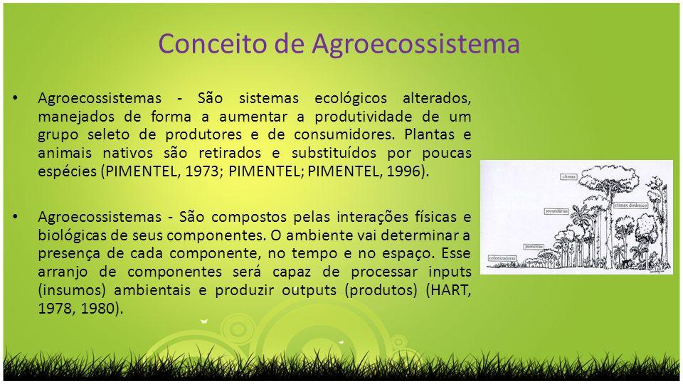 Conceito de Agroecossistema Agroecossistemas - São sistemas ecológicos alterados, manejados de forma a aumentar a produtividade de um grupo seleto de
