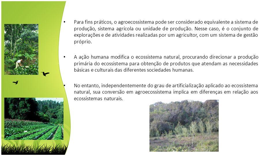 Para fins práticos, o agroecossistema pode ser considerado equivalente a sistema de produção, sistema agrícola ou unidade de produção. Nesse caso, é o