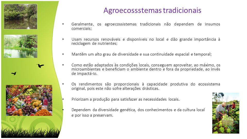 Geralmente, os agroecossistemas tradicionais não dependem de insumos comerciais; Usam recursos renováveis e disponíveis no local e dão grande importân