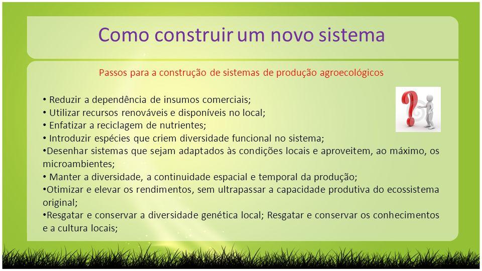 Passos para a construção de sistemas de produção agroecológicos Como construir um novo sistema Reduzir a dependência de insumos comerciais; Utilizar r