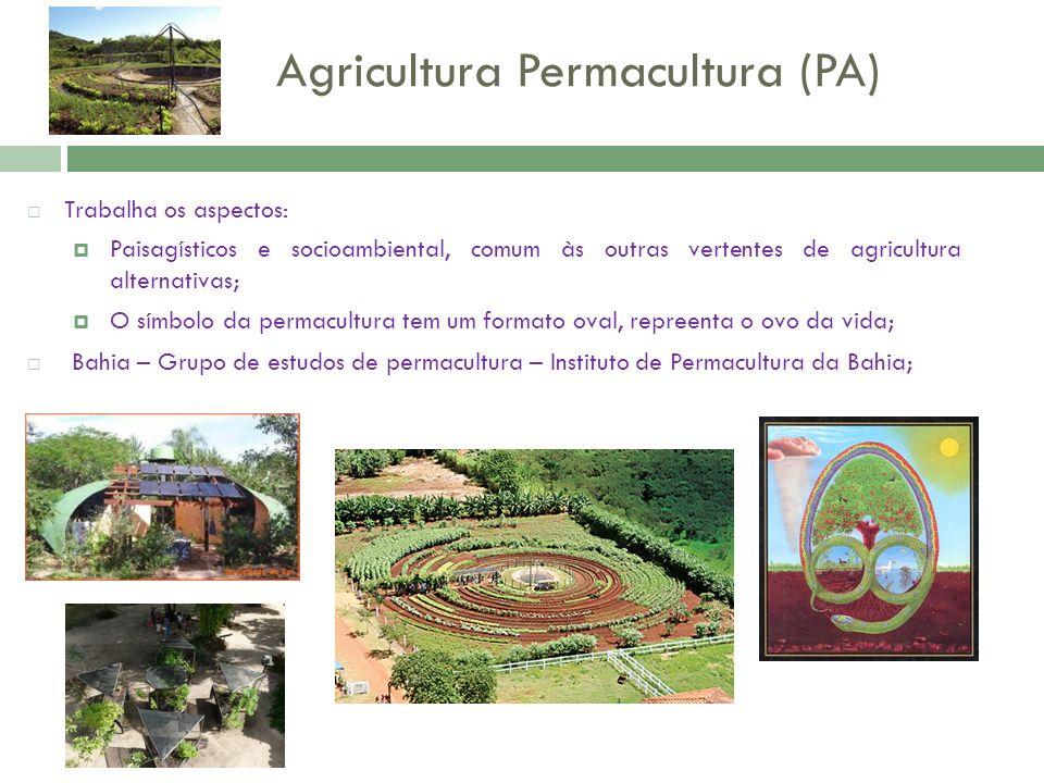 Agricultura Permacultura (PA) Trabalha os aspectos: Paisagísticos e socioambiental, comum às outras vertentes de agricultura alternativas; O símbolo d