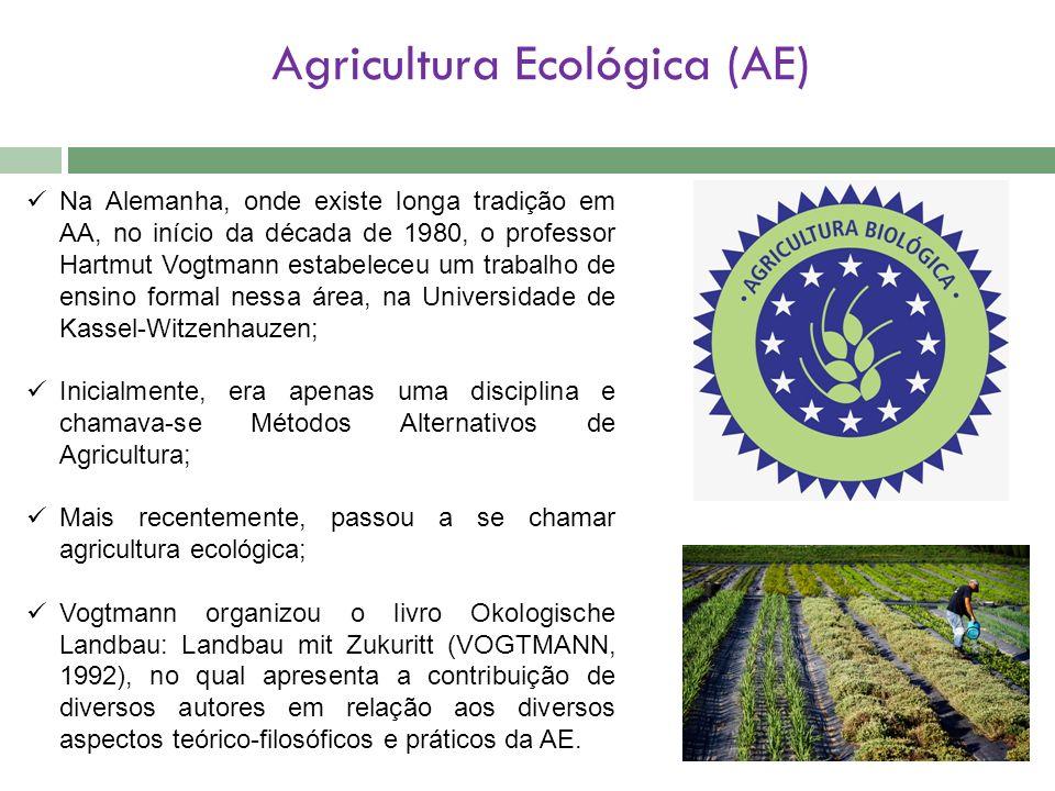 Agricultura Ecológica (AE) Na Alemanha, onde existe longa tradição em AA, no início da década de 1980, o professor Hartmut Vogtmann estabeleceu um tra