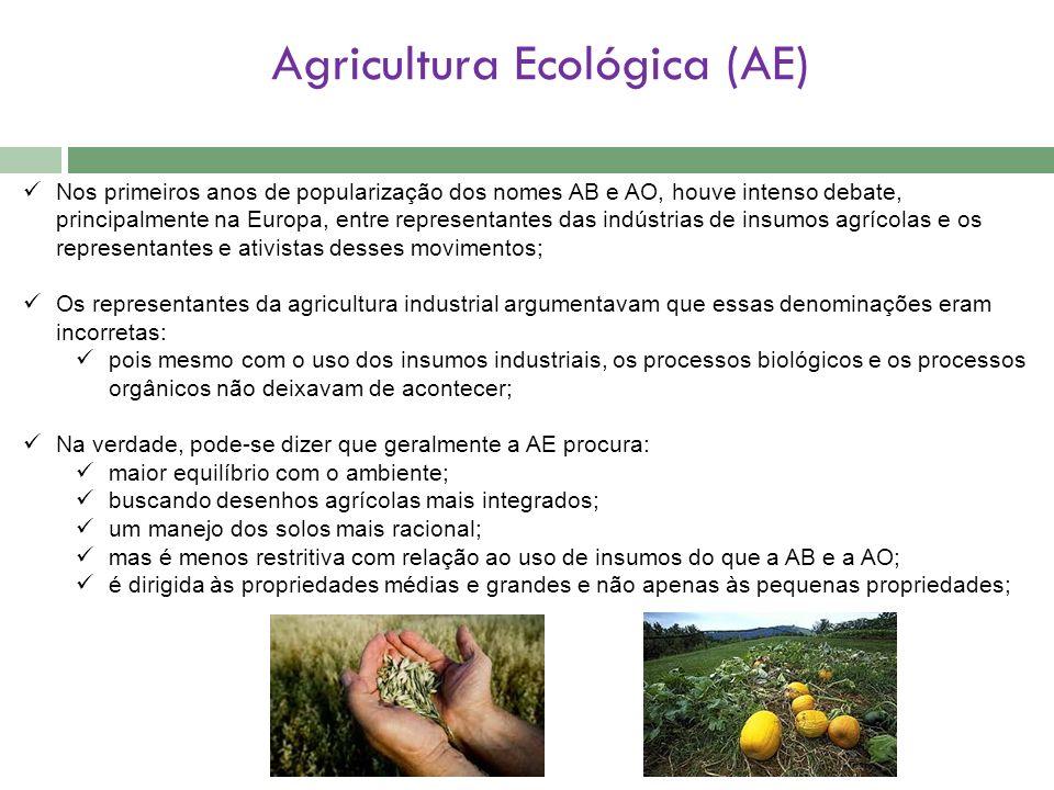 Agricultura Ecológica (AE) Nos primeiros anos de popularização dos nomes AB e AO, houve intenso debate, principalmente na Europa, entre representantes