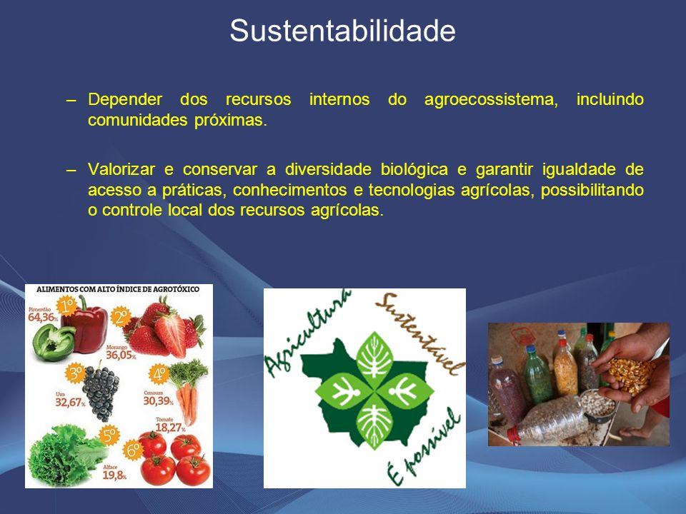 Sustentabilidade –Depender dos recursos internos do agroecossistema, incluindo comunidades próximas.