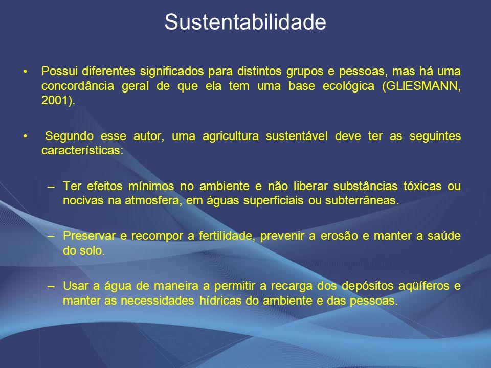 Sustentabilidade Possui diferentes significados para distintos grupos e pessoas, mas há uma concordância geral de que ela tem uma base ecológica (GLlESMANN, 2001).