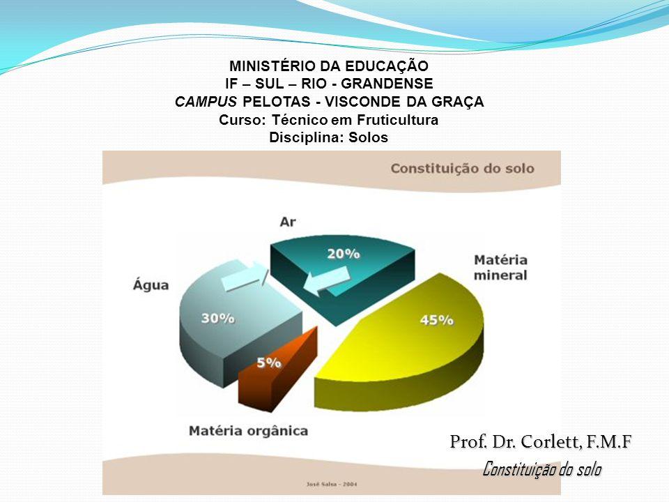 MINISTÉRIO DA EDUCAÇÃO IF – SUL – RIO - GRANDENSE CAMPUS PELOTAS - VISCONDE DA GRAÇA Curso: Técnico em Fruticultura Disciplina: Solos Prof.