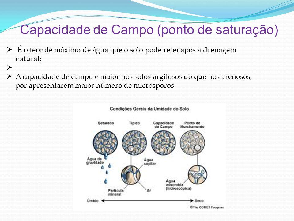 Capacidade de Campo (ponto de saturação) É o teor de máximo de água que o solo pode reter após a drenagem natural; A capacidade de campo é maior nos solos argilosos do que nos arenosos, por apresentarem maior número de microsporos.