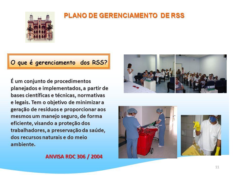 11 PLANO DE GERENCIAMENTO DE RSS É um conjunto de procedimentos planejados e implementados, a partir de bases científicas e técnicas, normativas e leg