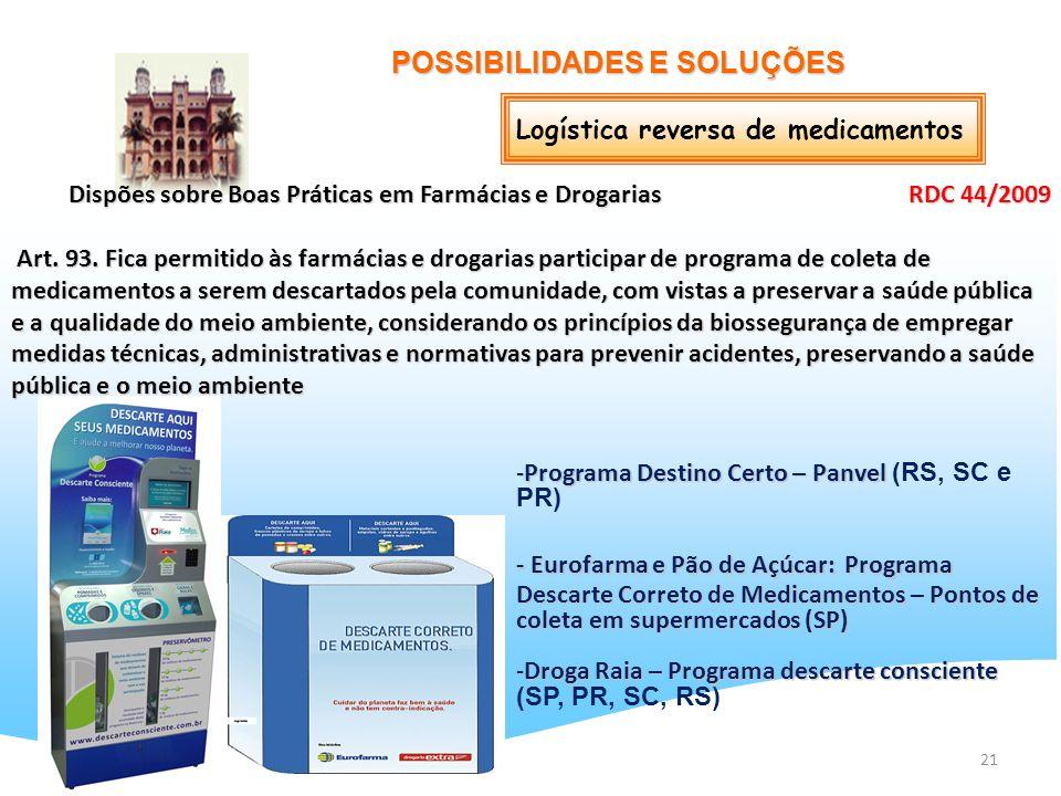 21 POSSIBILIDADES E SOLUÇÕES Logística reversa de medicamentos Dispões sobre Boas Práticas em Farmácias e Drogarias RDC 44/2009 Art. 93. Fica permitid