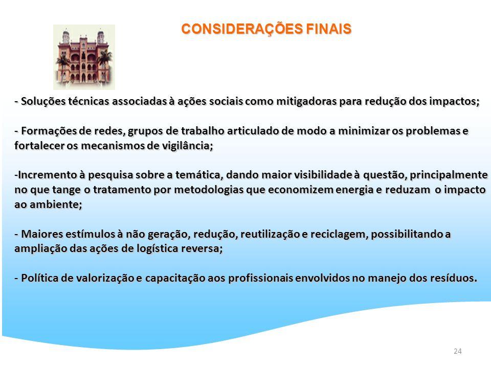 24 CONSIDERAÇÕES FINAIS - Soluções técnicas associadas à ações sociais como mitigadoras para redução dos impactos; - Formações de redes, grupos de tra