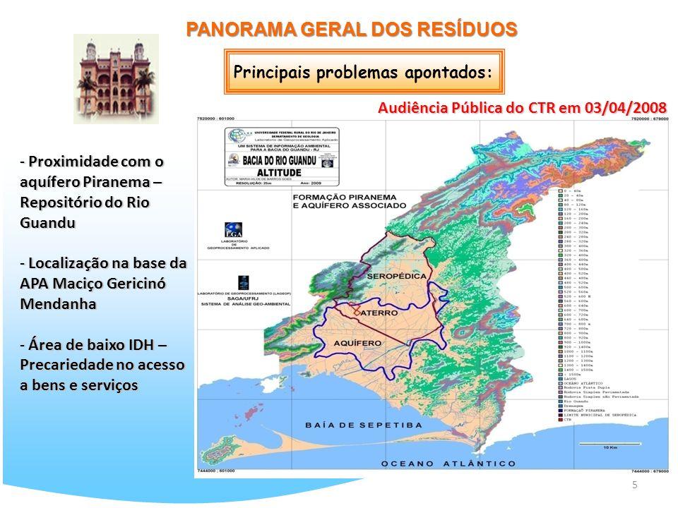 5 PANORAMA GERAL DOS RESÍDUOS - Proximidade com o aquífero Piranema – Repositório do Rio Guandu - Localização na base da APA Maciço Gericinó Mendanha