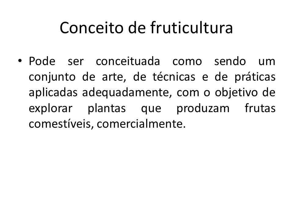 Conceito de fruticultura Pode ser conceituada como sendo um conjunto de arte, de técnicas e de práticas aplicadas adequadamente, com o objetivo de exp