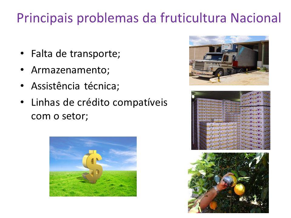 Principais problemas da fruticultura Nacional Falta de transporte; Armazenamento; Assistência técnica; Linhas de crédito compatíveis com o setor;