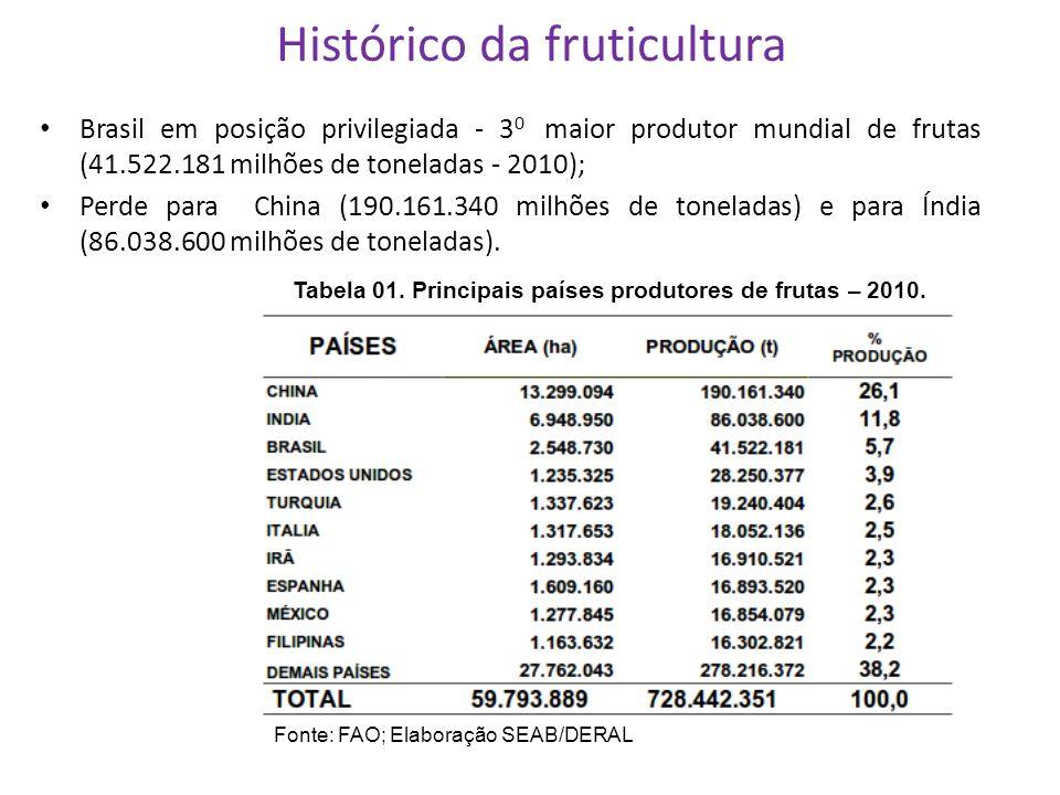 Histórico da fruticultura Brasil em posição privilegiada - 3 0 maior produtor mundial de frutas (41.522.181 milhões de toneladas - 2010); Perde para C