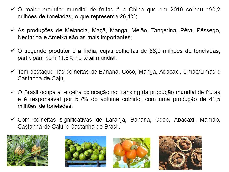 O maior produtor mundial de frutas é a China que em 2010 colheu 190,2 milhões de toneladas, o que representa 26,1%; As produções de Melancia, Maçã, Ma