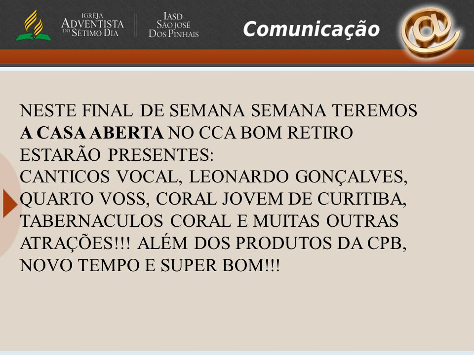 É com grande prazer que o Coral Jovem de Curitiba lhe convida para o lançamento de seu quarto CD Selo de Deus, o lançamento do CD será no dia 07/11 às 18:45 no grande auditório do Teatro Positivo.