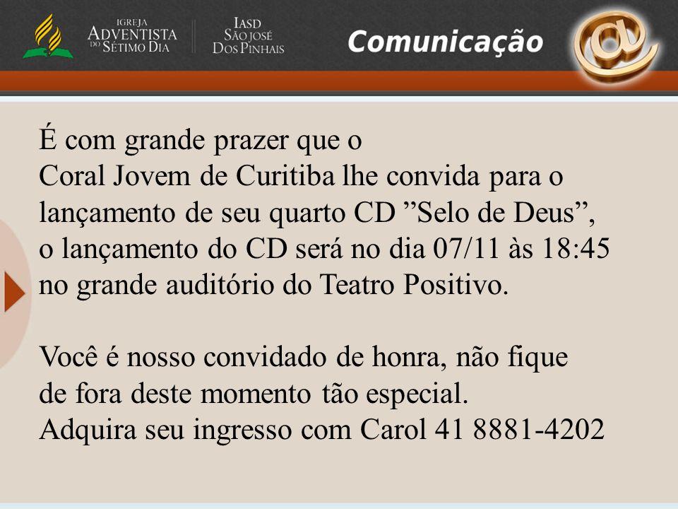 É com grande prazer que o Coral Jovem de Curitiba lhe convida para o lançamento de seu quarto CD Selo de Deus, o lançamento do CD será no dia 07/11 às