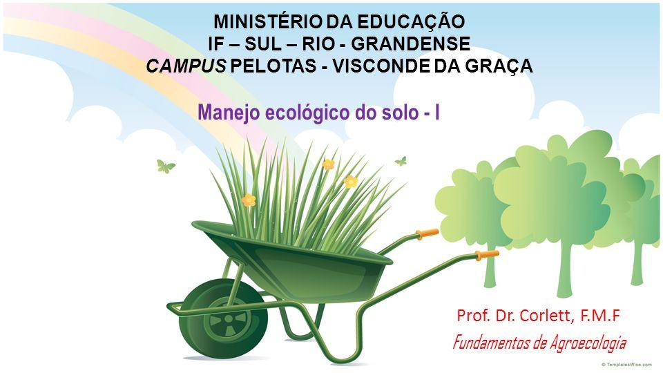 MINISTÉRIO DA EDUCAÇÃO IF – SUL – RIO - GRANDENSE CAMPUS PELOTAS - VISCONDE DA GRAÇA Prof. Dr. Corlett, F.M.F Fundamentos de Agroecologia Manejo ecoló