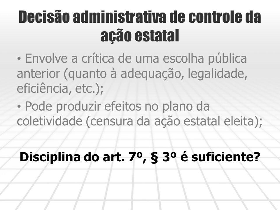 Decisão administrativa de controle da ação estatal Envolve a crítica de uma escolha pública anterior (quanto à adequação, legalidade, eficiência, etc.); Pode produzir efeitos no plano da coletividade (censura da ação estatal eleita); Disciplina do art.